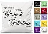 Classy & Fabulous Coco Chanel Zitat Kissen werfen Kissenbezug bedruckt Geschenk (nur Bezug) Weiß