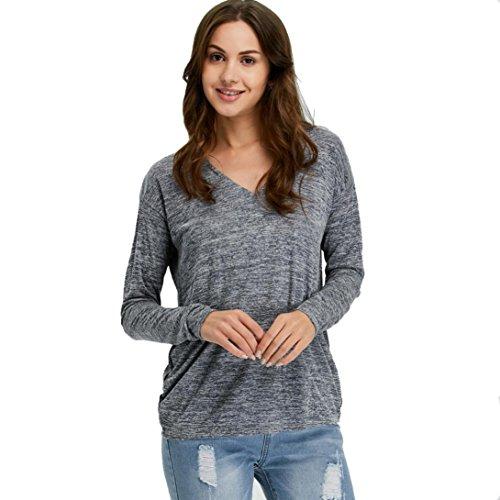 DOLDOA Frauen V-Ansatz lange Hülsen T-Shirts Blusen Oberseite Neue beiläufige lose Oberseiten (EU: 50, Grau) (Wert T-shirt Sache)