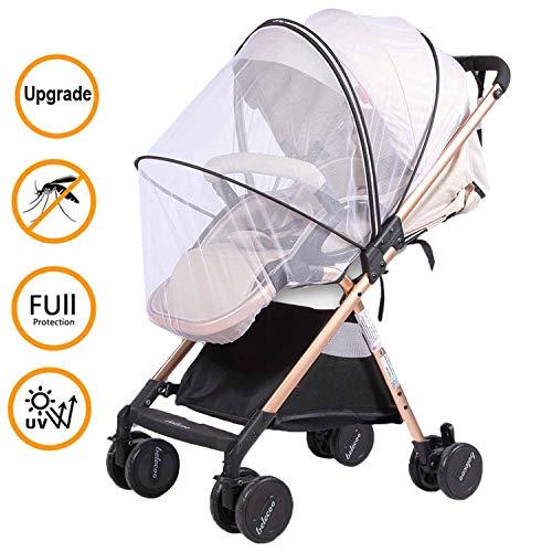 Universal Mückennetz/Insektenschutz für Kinderwagen/Babywagen mit Gummizug & Reißverschluss Mückennetz, Extra gross, Feinmaschig, Reißfest & Waschbar| Idealer Schutz vor Wespen & Stechmücken