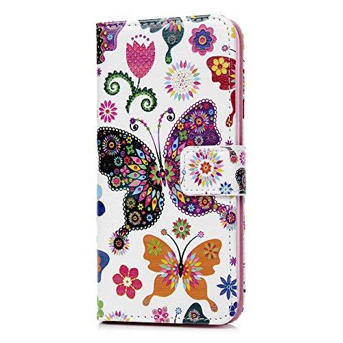 iPhone X Flip Cover, Custodia Libro Pelle PU e TPU Silicone con Funzione Supporto Chiusura Magnetica Portafoglio Libretto Bumper Case per iPhone X, Farfalle Fiore