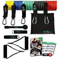 Set de bandes de résistance élastiques + guide d'exercices – 5 tubes en latex professionnels | Poignées, ancre de porte & sangles pied | Entraînement muscles bras, dos, jambes | Sport, fitness