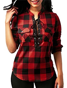 LuckyGirls Mujer Camisetas Manga Larga tartán Vendaje Cruzar Tops Blusa Sudaderas Camisas Talla Grande (S-5XL)