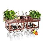 JXS Scaffale per Vino con Doppio Attaccapanni in Metallo di Design retrò, Portabottiglie per Vino con Champagne, Credenza con Armadi A Muro per Vino,Bronze