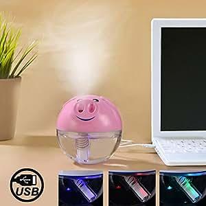 Diffuseur humidificateur à ultrasons avec interrupteur et Colorful LED Alimenté par USB Style Cochon (rose)