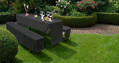 Gartenstuhl-Kissen Hussen Set Festzelt Set Bierbankhussen Bierbankgarnitur in schwarz 100% Polyester