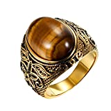 OIDEA Edelstahl Ringe Gold für Herren Damen, Vintage Künstliches Tigerauge Ringe Edelstahlring Herrenring Ringgrößen 59 (18.8)