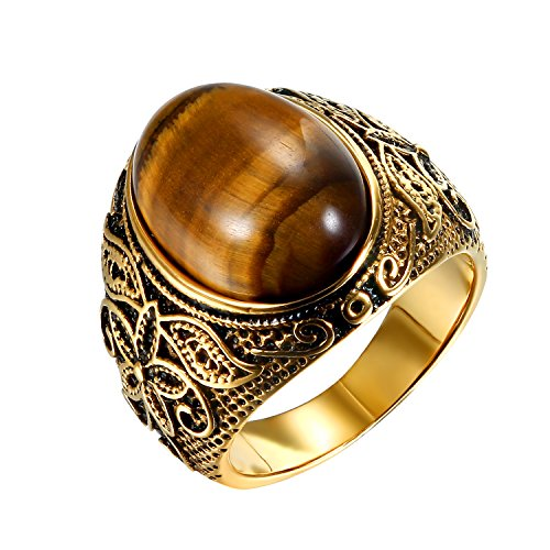 JewelryWe Schmuck Herren-Ring, Tiger-Auge Edelstahl, Retro Klasische geschnitzt Blumen Muster Ring Band, Gold - Größe 59