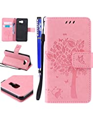 FESELE Coque Etui pour Samsung Galaxy A3(2016) Portefeuille Pu,Samsung Galaxy A3(2016) Étui Folio en Cuir,Samsung Galaxy A3(2016) Coque à Rabat Magnétique Housse Etui de Protection Chat Arbre Conception Ultra Slim Mince Pure Leather Pu Case avec Dragonne Corde Flip Wallet Protective Case Cover avec Fonction Stand et Fentes de Carte de Crédit Flexible Souple Tpu Coque Intérieure pour Samsung Galaxy A3(2016) + 1 x Stylet - Rose