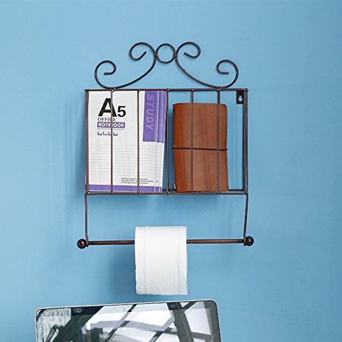 WAYERTY Wall Mounted Zeitschriftenständer, Zeitschriftenhalter Bad Zeitung-Halter Küche Papierrollenhalter Tissue-Papier-Regal Einfache Für Haushalt Und Büro-Bronze 32x9.5x40cm(13x4x16inch) -