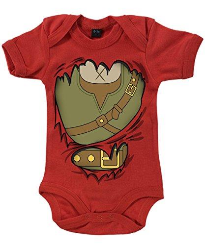-- Abenteurer Baby -- Babybody Rot, Größe 6/12 (Kostüm Link Zelda Roten)
