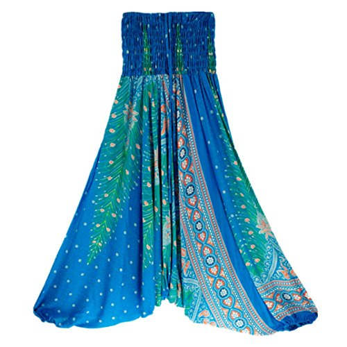 Haremshosen Damen Große Größen Indische Aladinhose Pants Kostüm Haremshose Lang Dunkelgrün Schwarz Türkis Rot Lila (one size, Blau B)