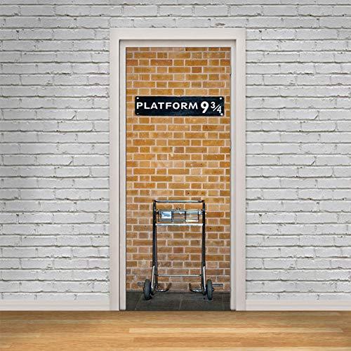 HIJKN Wandaufkleber U-Bahn Plattform 3D Vinyl Wandaufkleber für Wohnzimmer Schlafzimmer Selbstklebende Tür Renovierung Aufkleber Kunst Wandtattoos -