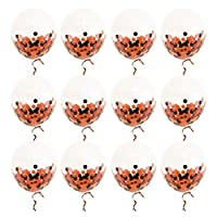 Hieefi Unique 12 Inch Transparent Latex Balloons Chic Balloon with Confetti Ribbon Party Balloon for Hallowen Festival Decorations(12PCS/Set)