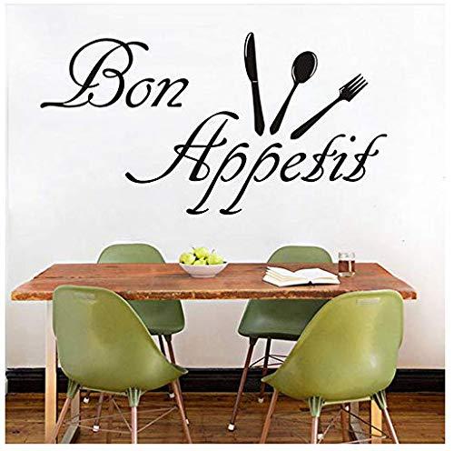 Wandaufkleber Abnehmbare 3D Wohnzimmer Mode Dekoration Diy Bon Appetit Charakter Küche Aufkleber Geschirr Abnehmbare Diy Dekoration Frankreich Sagte 82X43Cm