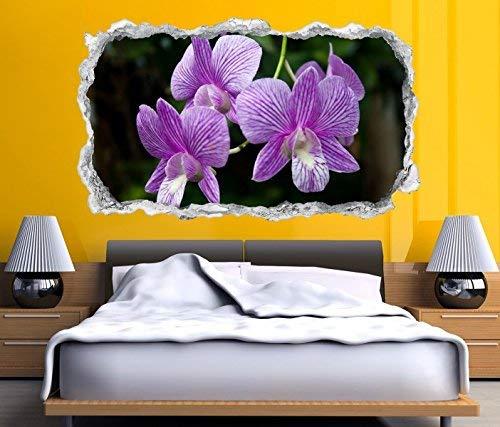 3D Wandtattoo Durchbruch Lilien Lilie lila Blume Blume Wand Aufkleber Wanddurchbruch sticker selbstklebend Wandbild Wandsticker Wohnzimmer 11O2230, Wandbild Größe F:ca. 162cmx97cm (Lila Blumen-wand-aufkleber)
