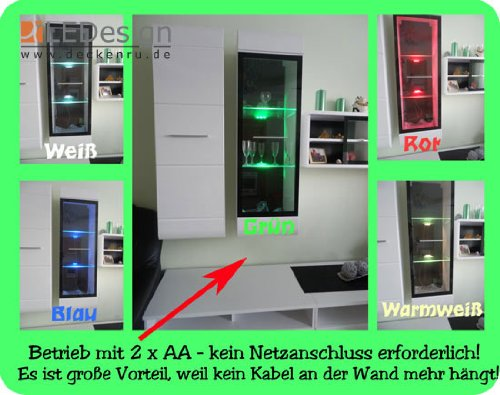2er Set 3x LED Glaskantenbeleuchtung Glasbodenbeleuchtung Glasbeleuchtung Batteriehalter deckenru.de LEDs warm-weiß