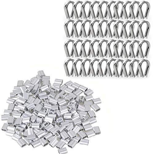 TooTaci - Juego de 200 abrazaderas para cable de aluminio y 40 dedales de acero inoxidable M2 304 (3,17 mm)