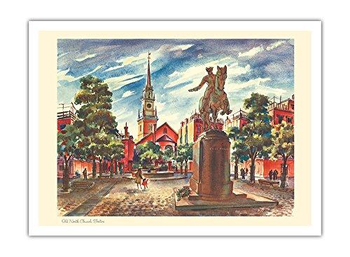 Alte Nordkirche - Boston, Massachusetts - Kalenderseite von United Airlines - Vintage Retro Welt Reise Plakat Poster von Joseph Fehér1948 - Premium 290gsm Giclée Kunstdruck - 30.5cm x - Airlines Poster United