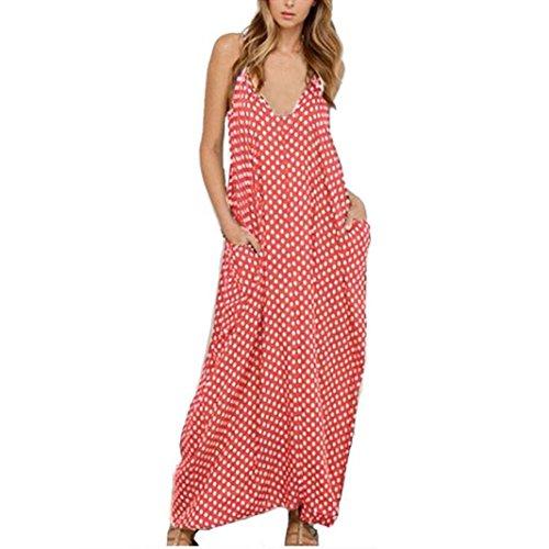Manadlian-Robes Longue, Mousseline de Soie Robe Femmes en Mousseline de Soie Boho Longue Robe de Soirée Partie Robe de Plage Dot Poche Imprimée Rose