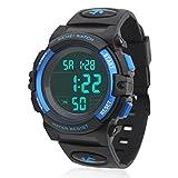 Jungen Digitaluhren, Kinder Sport 5 ATM wasserdicht Digital Uhren mit Alarm/Timer/El Licht/Stoppuhr/Dual Chronograph / Kalender Datum , Blau Kinderuhren Outdoor Armbanduhr für Jugendliche Jun (Blue)