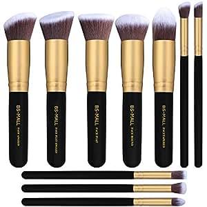 BS-MALL Premium Synthetic Kabuki Makeup Brush Kit, 10 Pieces/Golden Black