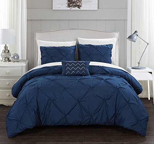 Chic Home Daya 4 Piece Duvet Cover Set Pinch Pleat Ruffled Design Embellished Zipper Closure Bedding - Decorative Pillow Shams Included King Navy (Navy King-size-pillow Shams)