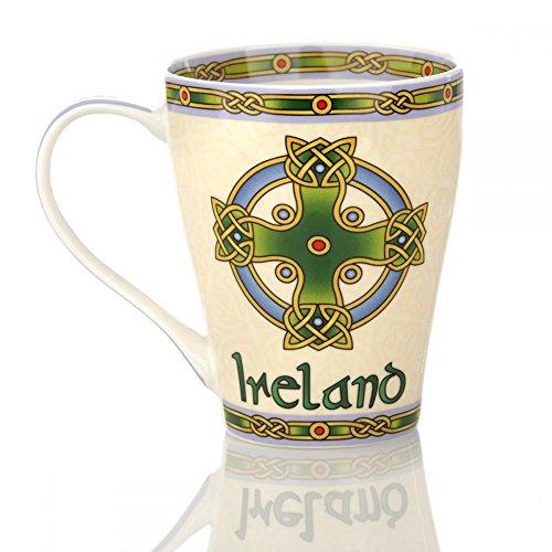 Eburya Irish Cross Mug - Kaffeebecher mit keltischem Kreuz & Irland Schriftzug