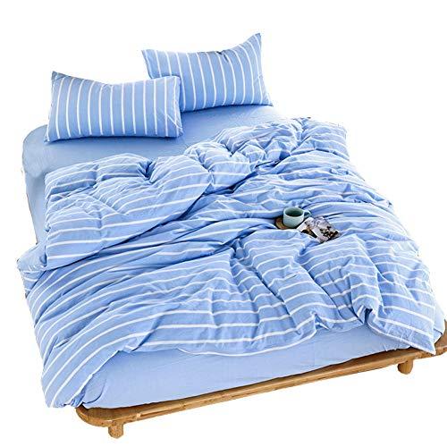 HMEIGUI Bettwäsche Bettwäsche Queen-Bettbezug - doppelseitig Reine Baumwolle Reversible Plaid Plain gefärbt Bettwäsche Tröster-Set,Blue1_Full Size -
