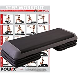 POWRX - Step aerobic PROFESIONAL (XL) - Dimensiones: 110 x 42 x 21 cm - Gris / Negro + PDF INTERACTIVO con 20 ejercicios