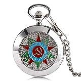 Reloj de Bolsillo de Lujo con Insignia de Comunismo y Martillo soviético, de Plata Rusa, Regalo Vintage y Retro para Hombres