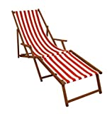 Erst-Holz® Strandliege rot-weiß Gartenliege Relaxliege Fußteil Liegestuhl Deckchair Buche dunkel 10-314 F