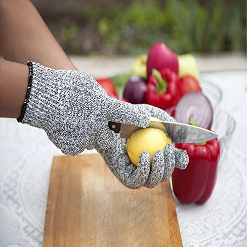 Schnittfest Handschuhe (1Paar) Lebensmittelqualität Level 5Schutz, Sicherheit Küche Schnitt Handschuhe für Fisch Filet, Oyster Shucking, Mandoline zum Schneiden, Fleisch und Holz–Medium
