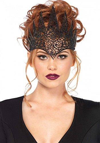 Kostüm Königin Krone - shoperama Krone aus Latex von Leg Avenue Königin Halloween Evl Queen Damen Kostümzubehör Tiara, Farbe:Schwarz
