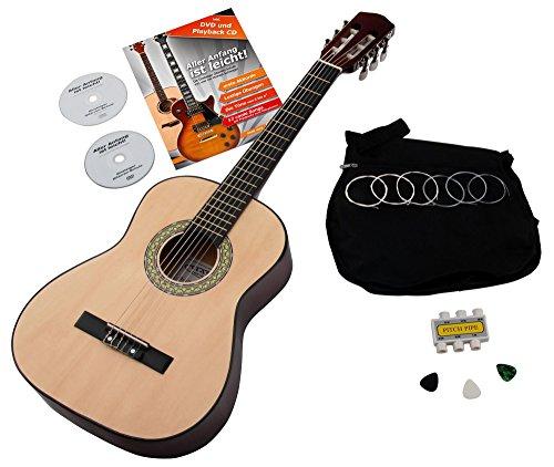 Classic Cantabile AS-851 1/2 Konzertgitarre Starter Set (Komplettes Anfänger Set mit Klassik Gitarre, Gigbag Tasche, Nylonsaiten, Lehrbuch/Schule inkl CD und DVD, 3x Plektren und Stimmpfeife)