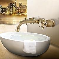 Wmshpeds antiguo montado en la pared Mueble de baño de cobre de agua caliente y fría del grifo Europea se puede girar grifo