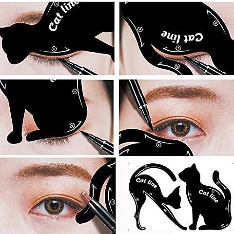 Yogogo 2Pcs Femmes Cat Line Pro Outil De Maquillage Des Yeux Eyeliner Stencils Template ModèLe Shaper