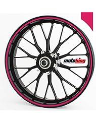 """Adhesivos Motoking para llantas 360 °, 12 mm de ancho, mate de color rosa/rueda completa/desde 10"""" hasta 14""""/color y ancho opcionales"""