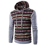 feiXIANG Sweatshirt Herren Herbst Winter National Style Langarm Hoodie Top Bluse Slim Fit Patchwork Outwear Männer (Grau,L)