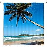 M-a-M Paesaggio Tenda da Doccia Chiaro Cielo Spiaggia Onde Isola Tropicale Palma Balneare Tessuto per Vacanze Poliestere Impermeabile, Verde Blu