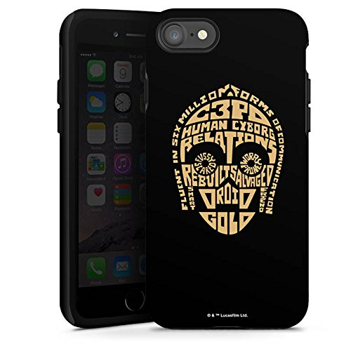 Apple iPhone X Silikon Hülle Case Schutzhülle Star Wars Merchandise Fanartikel C3PO Typo Tough Case glänzend