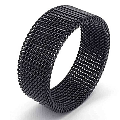 AnaZoz Jewelry Black Woven Mesh Band 8MM Stainless Steel Screen