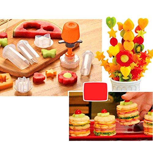 Generic 6PCS Umweltfreundlich Fruit Form Cutter Schneide Food Decorator Fruit Cake, Salat Helper Küche Zubehör Kochen Werkzeuge Herz Star Fruit Decorator