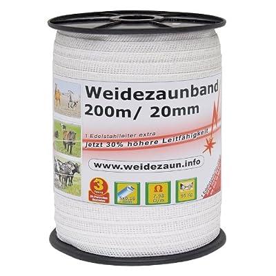 Weidezaun-Band 200m, 20mm, 5x0,16 Niro, weiß von VOSS.farming bei Du und dein Garten