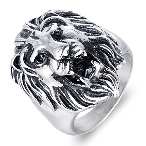 SonMo Edelstahl Herren Ring Bandring Edelstahl Herrenring Löwenkopf Silber Größ: 67 (21.3)