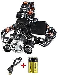 boruit Tête LED Lampe frontale rechargeable étanche lampe torche LED avec 6000LM 3* * * * * * * * LED Cree XM-L T6