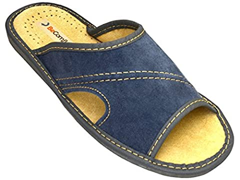 BeComfy Herren Hausschuhe Leder Blau Pantoffeln Modell XC67 (42,