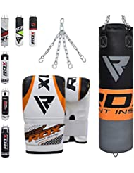 RDX Sac de Frappe Rempli Lourd Punching Ball MMA Muay Thai Kickboxing Arts Martiaux Kit Boxe Avec Gants Chaine Suspension Adulte Punching Bag