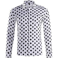 LHWY Camisa de Hombre Tops Shirt 2019 Verano Moda botón Holgado de Manga Larga con Cuello Redondo y Estampado Hawaiano Camiseta Corta Camiseta Gran tamaño Lunares Beach Hawaii Blanco L