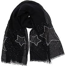 FASHIONGEN - Echarpe femme douce imitation coton, strass et étoile, ... 56bfa2e5947