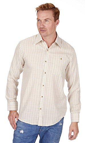 Baum Country Herren Tattersall Kariertes Langärmeliges Hemd - Creme, XX-Large (Kragen-einzel Manschette-shirt)